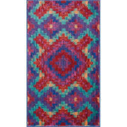 """Loloi Isabelle Rug  HIS03 Red / Teal - 3'-0"""" x 3'-0"""" Round"""