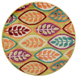 """Loloi Isabelle Rug  HIS04 Green / Multi - 3'-0"""" x 3'-0"""" Round"""