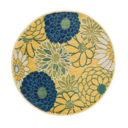 """Loloi Isabelle Rug  HIS05 Green / Multi - 3'-0"""" x 3'-0"""" Round"""