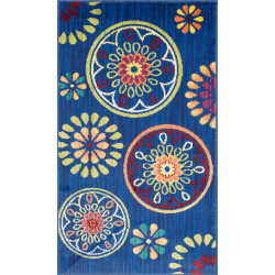 """Loloi Isabelle Rug  HIS08 Blue / Multi - 3'-0"""" x 3'-0"""" Round"""