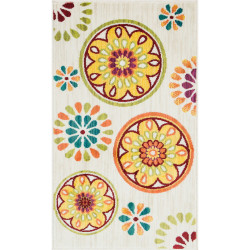 """Loloi Isabelle Rug  HIS08 Ivory / Multi - 3'-0"""" x 3'-0"""" Round"""