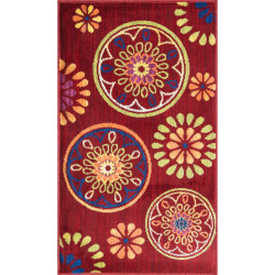 """Loloi Isabelle Rug  HIS08 Red / Multi - 3'-0"""" x 3'-0"""" Round"""