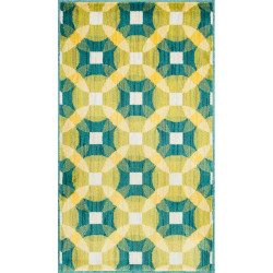 """Loloi Isabelle Rug  HIS09 Teal / Multi - 3'-0"""" x 3'-0"""" Round"""