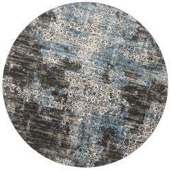 "Loloi Kingston Rug  KT-02 Charcoal / Blue - 9'-3"" X 9'-3"" Round"
