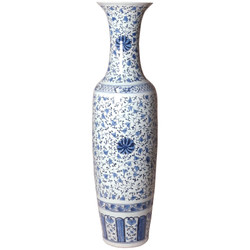 Tall Vase - Blue/White