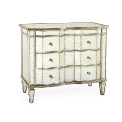 John Richard Églomisé Three-Drawer Chest with Silver-Leaf Molding
