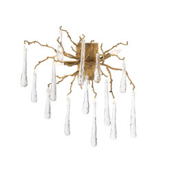 John Richard Brass and Glass Teardrop Two-Light Wall Sconce