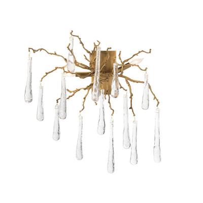 John Richard Brass and Glass Teardrop Two-Light Wall Sconce