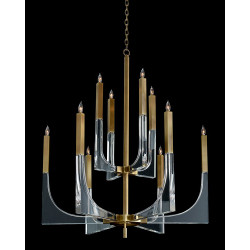 John Richard Acrylic and Brass Ten-Light Chandelier