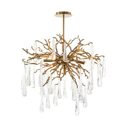 John Richard Brass and Glass Teardrop Seven-Light Chandelier