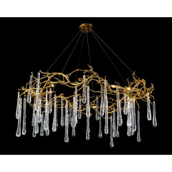 John Richard Brass and Glass Teardrop Eight-Light Chandelier