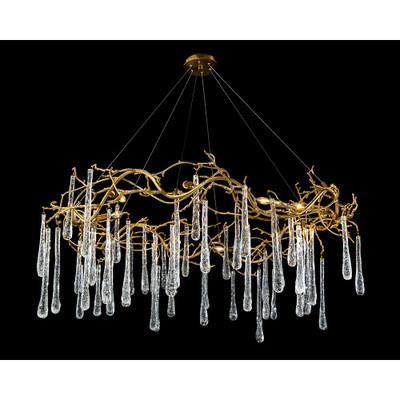 John Richard Brass and Glass Teardrop Eight-Light Chandelier
