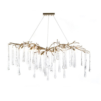 John Richard Brass and Glass Teardrop Nine-Light Chandelier