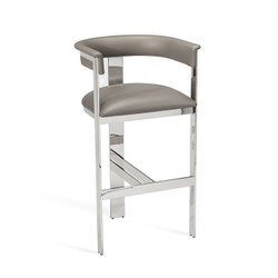 Darcy Bar Stool - Grey/ Nickel