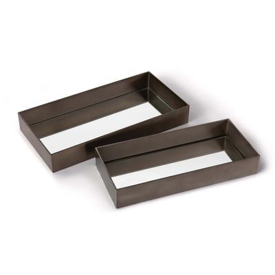 Regina Andrew Rectangle Metal Tray Set - Steel