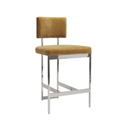 Worlds Away Baylor Counter Stool - Nickel/Camel