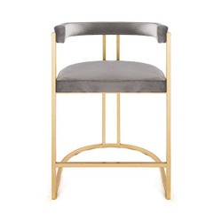 Worlds Away Cromwell Counter Stool - Gold/Grey