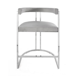 Worlds Away Cromwell Counter Stool - Nickel/Gray Velvet