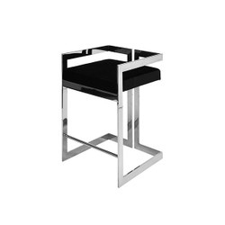 Worlds Away Emmett Counter Stool - Nickel/Black