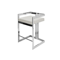Worlds Away Emmett Counter Stool - Nickel/White