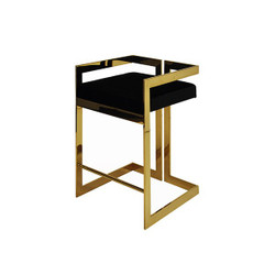 Worlds Away Emmett Counter Stool - Brass/Black