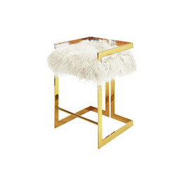 Worlds Away Emmett Counter Stool - Brass/Mongolian Fur