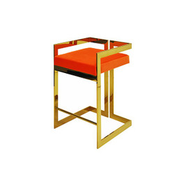 Worlds Away Emmett Counter Stool - Brass/Orange