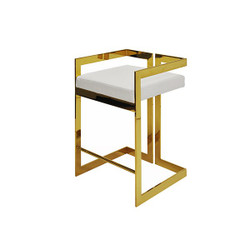 Worlds Away Emmett Counter Stool - Brass/White Vinyl