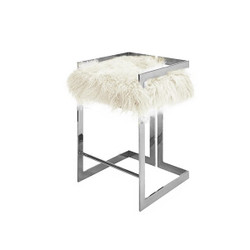 Worlds Away Emmett Counter Stool - Nickel/Mongolian Fur