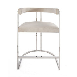 Worlds Away Cromwell Counter Stool - Nickel/Ivory Velvet
