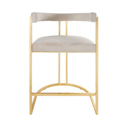 Worlds Away Cromwell Counter Stool - Gold Leaf/Ivory Velvet