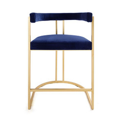 Worlds Away Cromwell Counter Stool - Gold Leaf/Navy Velvet