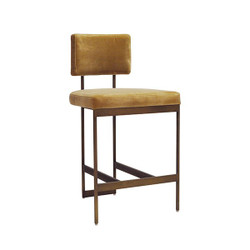 Worlds Away Baylor Counter Stool - Bronze/Camel Velvet