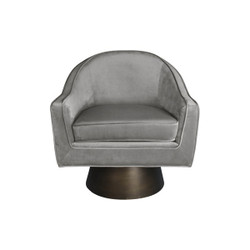 Worlds Away Dominic Chair - Bronze/Gey Velvet