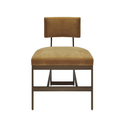 Worlds Away Shaw Chair - Bronze/Camel Velvet