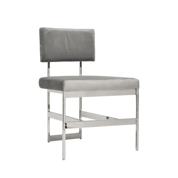 Amazing Worlds Away Shaw Chair Nickel Grey Velvet Pabps2019 Chair Design Images Pabps2019Com