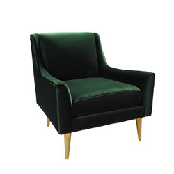Worlds Away Wrenn Chair - Brass/Green Velvet