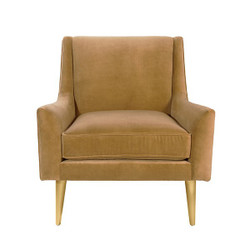 Worlds Away Wrenn Chair - Brass/Camel Velvet