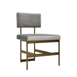 Worlds Away Shaw Chair - Bronze/Grey Velvet