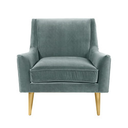 Worlds Away Wrenn Chair - Brass/Seafoam Velvet