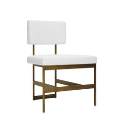 Worlds Away Shaw Chair - White Vinyl/Bronze