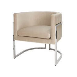 Worlds Away Jenna Chair - Nickel/Cream Velvet