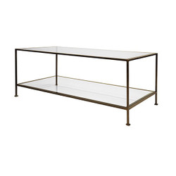 Worlds Away Taylor Coffee Table - Bronze/Rectangular/Glass Shelves