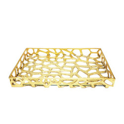 Worlds Away Byron Tray - Iron/Glass Bottom/Gold Leaf