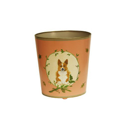 Worlds Away Wbcorgi Wastebasket - Hand Painted