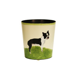 Worlds Away Wbbostterrier Wastebasket - Hand Painted