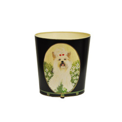 Worlds Away Wbyorkterrier Wastebasket - Hand Painted