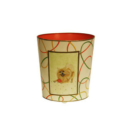 Worlds Away Wbpomeranian Wastebasket - Hand Painted