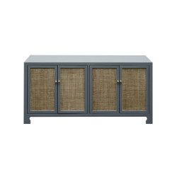 Worlds Away Sofia Cabinet - Cane/Brass/Grey Lacquer