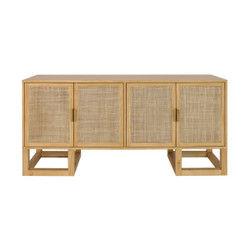 Worlds Away Patrick Cabinet - Cane/Pine/Brass Hardware